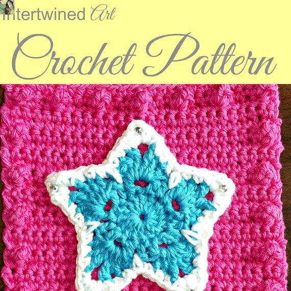 Crochet PATTERN Star Applique Granny Square PATTERN: Like a