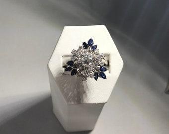 18k White Gold, Diamond & Sapphire Burst of Color Ring