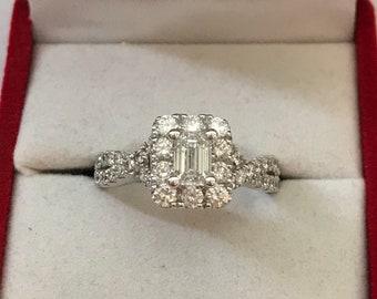 14k White Gold Multi Diamond ( 1.60 ct total) Ladies Engagement Ring