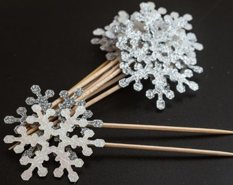 Snowflake cupcake toppers, Silver Glitter Snowflakes, White Glitter Snowflakes, Winter Wedding, Winter Cupcakes, Frozen Theme
