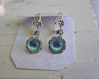 Small Aqua Blue ~ Earrings ~ Turquoise Blue  ~ Silver Aquamarine ~ Small Earrings ~ Aqua Blue ~ Vintage Glass ~ Hypoallergenic ~