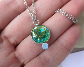 Mermaid Green Pendant ~ Minimalist ~ Water Nymph ~ Round Silver Necklace ~ by WakesTheDawn