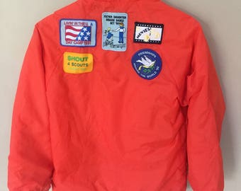 Vintage Girl Scout of Usa Windbreaker Jacket with Patches
