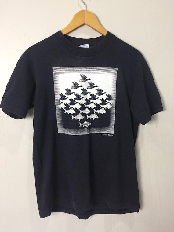 Vintage 80s Mc Escher Art T Shirt Medium Size