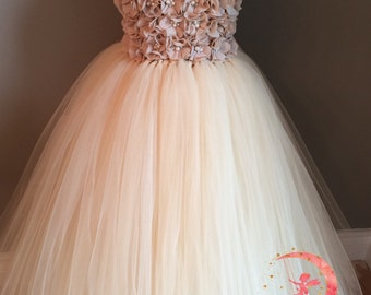 a6dde5b3d82 Champagne chiffon pearl flower girl dress