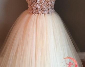 Champagne chiffon pearl flower girl dress, chiffon tulle flower girl dress, champagne/beige tulle dress, wedding flower girl dress, tutu