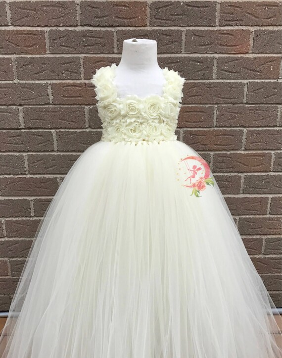 89590d75846b4 Ivory flower girl dress Ivory dress with flower straps | Etsy