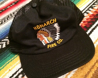 Vintage 70s Monarch Fire Dept Native American Chief Graphic Snapback Trucker  Hat 1970s VTG Made in USA South Carolina SC Cap 685c4f2bea8