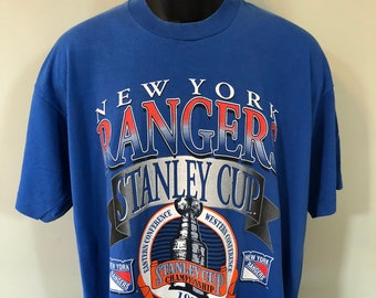 f8b1bd1ad 1994 New York Rangers Shirt Vintage Tee 90s Stanley Cup Champions NHL Ice  Hockey Jersey Eastern Western Conference NYC Fruit of the Loom XL