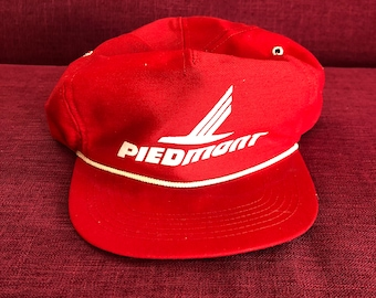 893cfdc26e2 70s Piedmont Airlines Logo Hat Vintage Cap American Eagle USAir US Airways  flight Attendant Captain Pilot Rare Retro Red White Made USA