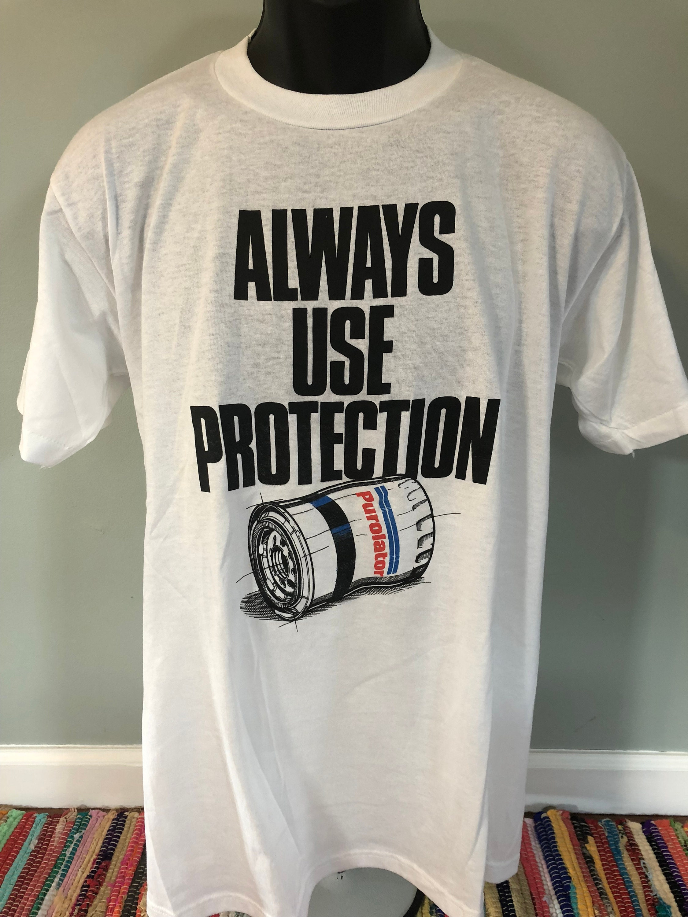 80 s toujours utiliser Protection Swingster chemise chemise chemise Vintage Tee Purolator huile Muscle Car Nascar essence formule course Indy 500 Chevrolet Mustang Dodge XL 0ac694