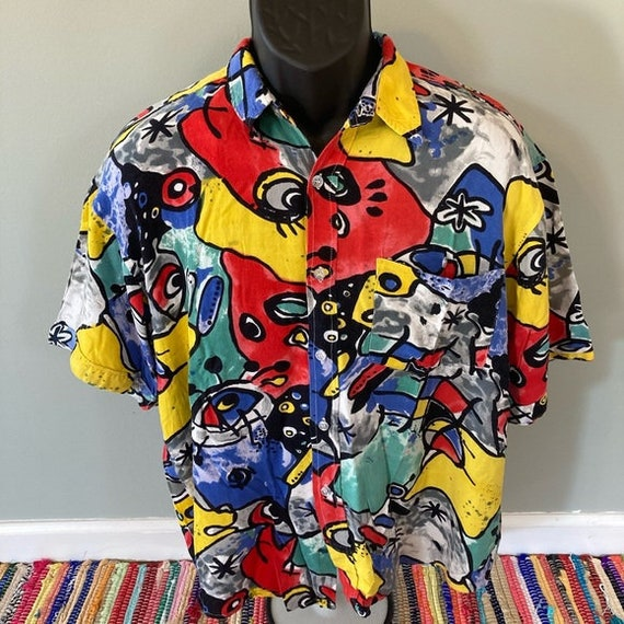 90s Geometric Shapes Shirt Vintage Button Tee In L