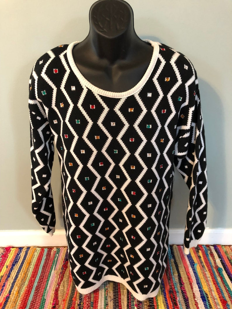 17a1145f5f0 80s Zig Zag Emerald Sweater Vintage Bedazzled Striped Colorful Rainbow  Crystal Oversized Long Soft Black White Made In USA Medium