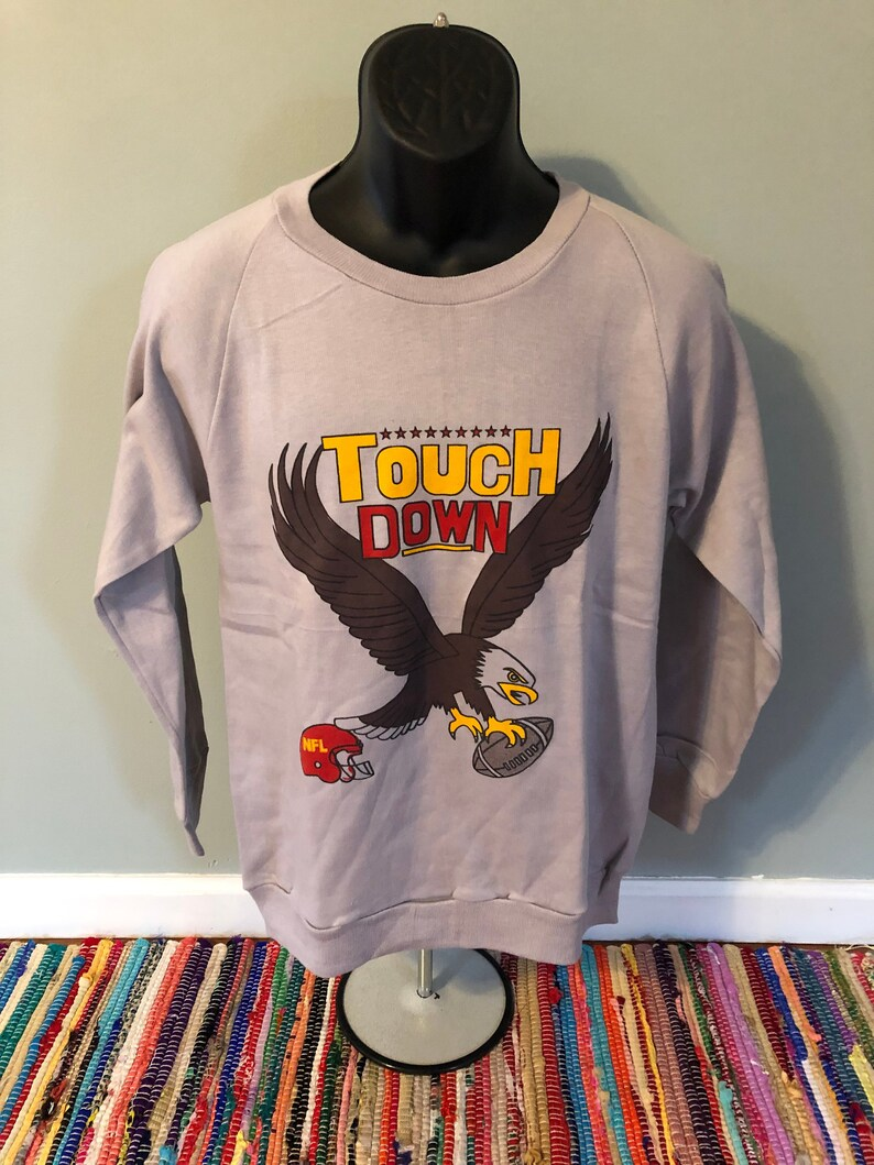 d26de359 80s Football NFL Crew Sweatshirt Vintage Touch Down America Team Gear Shirt  Tee Jersey Eagle Helmet Superbowl Made USA Large Medium