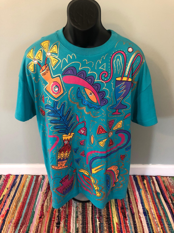 698935debe6 90s Neon Shapes Shirt Vintage Tee Design Pattern Swarovski