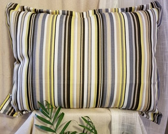 Multi Stripped Decorative Pillow for Indoor and Outdoor Use! Yellow, Gray, Black, Tan