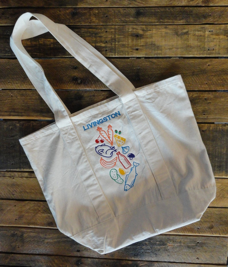 Personalized Tote Bag  Grocery Tote  Market Tote Bag  Canvas Tote  Recyclable Tote Bag  Reusable Grocery Bag