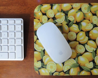 Lemons Mouse Pad // Gifts Under 15 // Fun Desk Accessories // Gifts for Cooks // Foodie Gifts // Food Mousepads