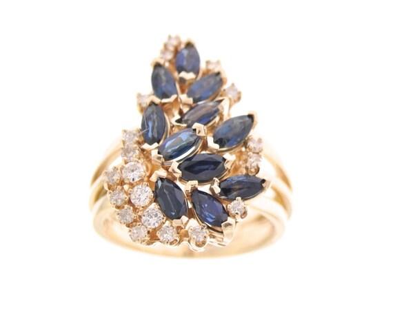 2 Ct Marquise Ronde créé Diamant Grappe Boucles D/'oreille 14K or Jaune Grande