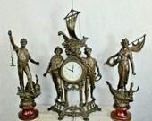 Vintage 1970 french zinc spelter mantel clock set statue figurine