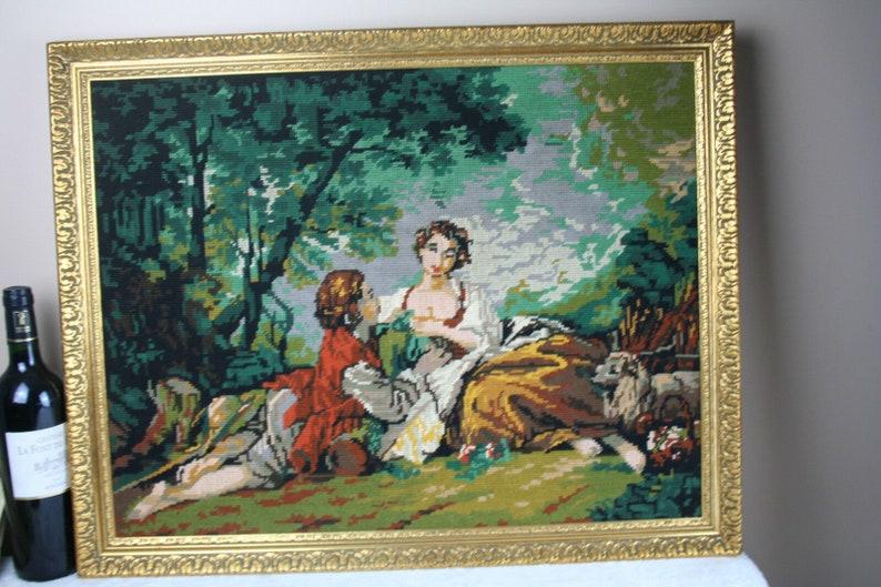 Gorgeous french 1975 needlepoint romantic lady dog scene framed painting