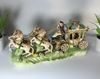 Vintage 1960 french porcelain coach horses princess statue