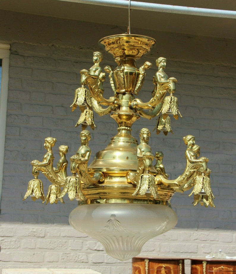 Xl francese impero bronzo metallo 12 caryatid ninfa figural HZP0FpWR
