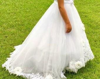 READY TO SHIP First Holy Communion Dress Wedding Flower Girl Dress White Ivory Vintage Rustic Communion Dress Catholic