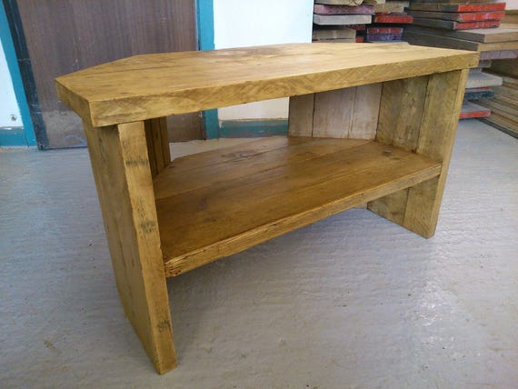 Hand Made Solid Wood Corner Tv Stand Solid Wood Single Shelf Etsy