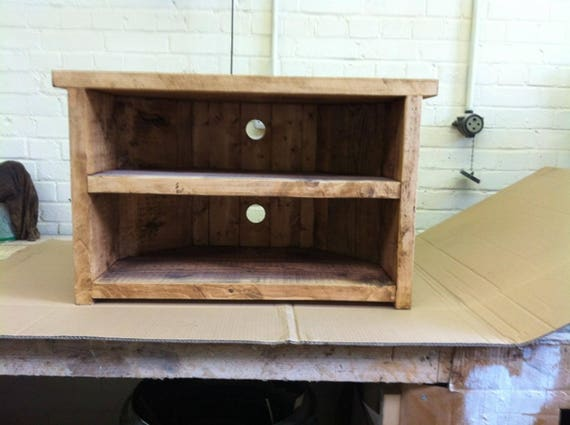 Hand Made Solid Wood Corner Tv Stand Solid Wood With Back Etsy