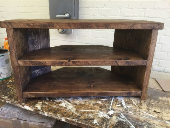Hand Made Solid Wood Corner Tv Stand Solid Wood Walnut Etsy