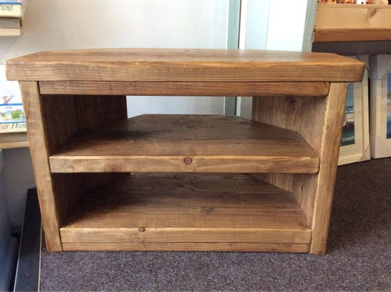 Hand Made Solid Wood Corner Tv Stand Solid Wood Rustic Etsy