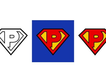 Superman Letter P - Download Digital Clipart Silhouette Vector Files