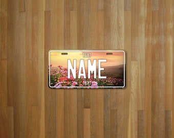 Personalised Flower License Plate (choose your text, color, size, material)