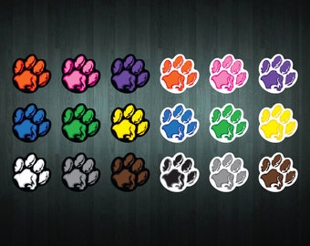 6 x Paw Print Vinyl Stickers (18 colors to choose from)