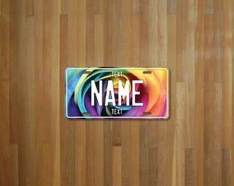 Personalised Rainbow Rose License Plate (choose your text, color, size, material)