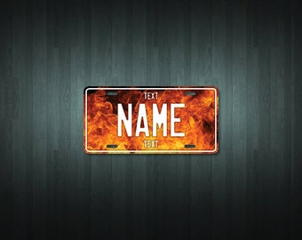 Personalised Flame License Plate (choose your text, color, size, material)
