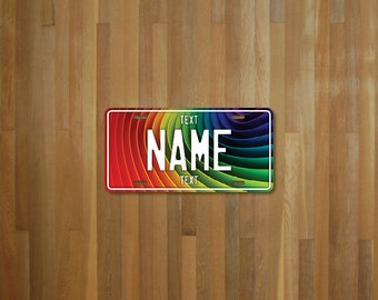 Personalised Rainbow Colors License Plate (choose your text, color, size, material)