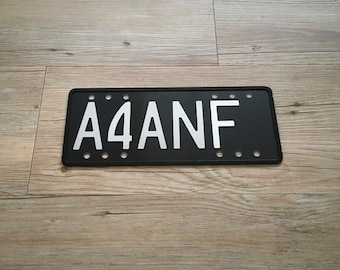 Replica Old School Black NZ Motorcycle Number Plate (alloy, 3D)