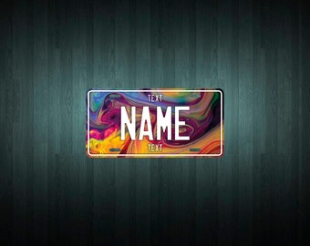Swirly Colors Mini USA License Plate (choose your text, size, material)