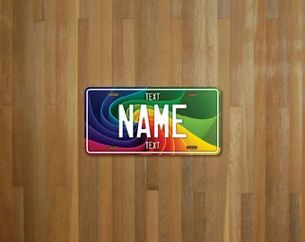 Personalised Rainbow Swirl License Plate (choose your text, color, size, material)