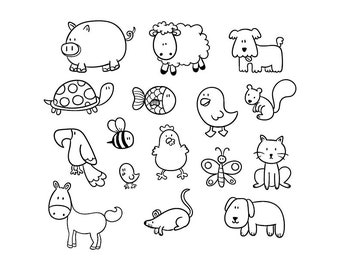 Cartoon Animals - Download Digital Clipart Silhouette Vector Files