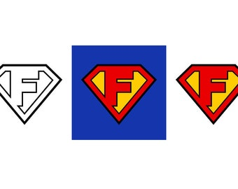 Superman Letter F - Download Digital Clipart Silhouette Vector Files