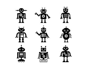 Robot - Download Digital Clipart Silhouette Vector Files