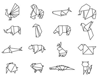 Origami Animals - Download Digital Clipart Silhouette Vector Files