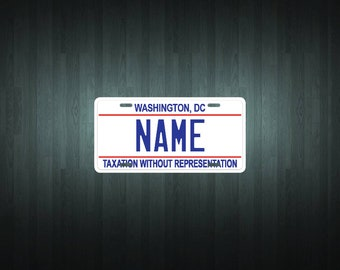 Custom Washington DC Style License Plate (choose your text, size, material)