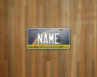 Personalised Rainbow Field License Plate (choose your text, color, size, material)