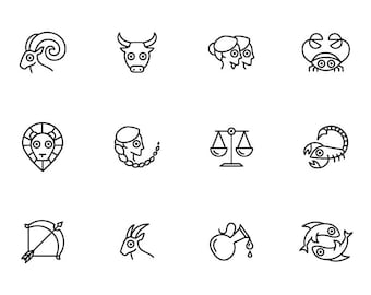 Zodiac Symbols - Download Digital Clipart Silhouette Vector Files