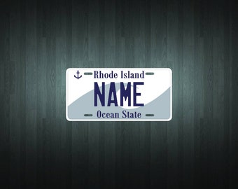 Custom Rhode Island Style License Plate (choose your text, size, material)