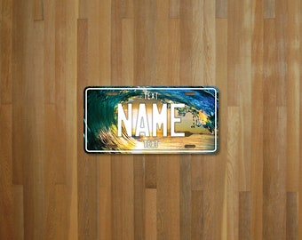 Personalised Wave License Plate (choose your text, color, size, material)